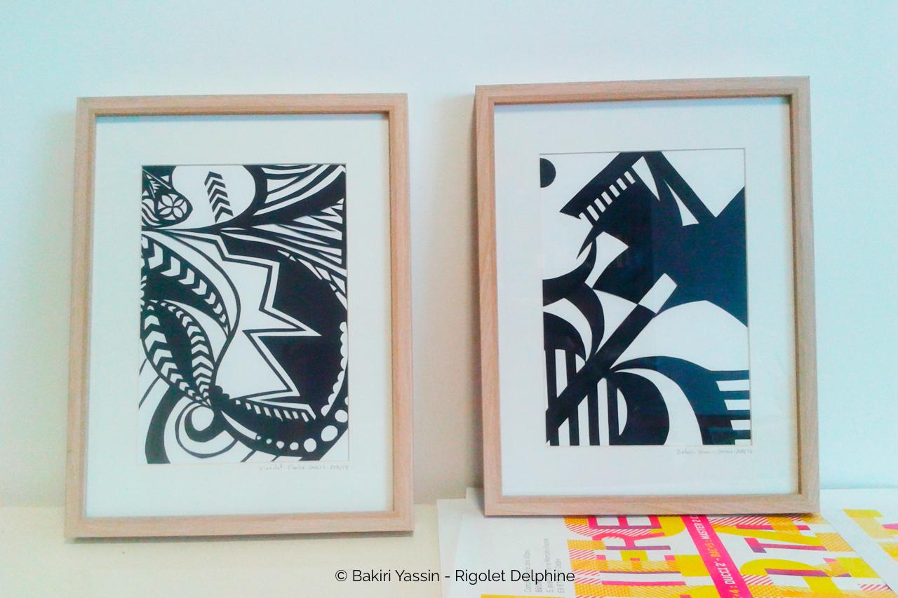 tableau abstrait forme noire et blanche