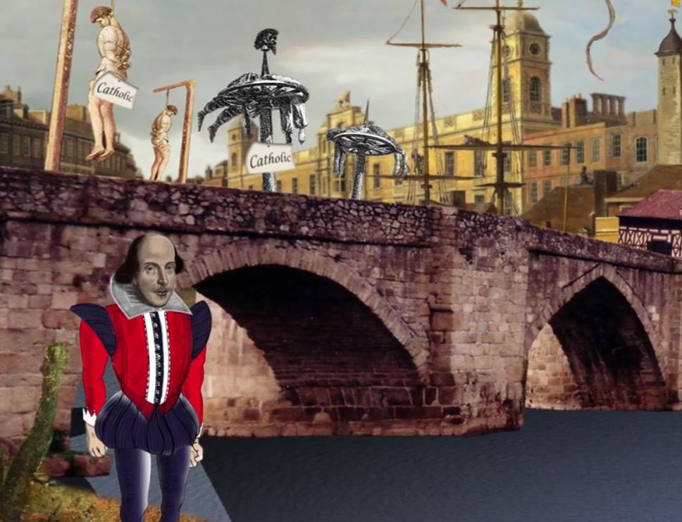 Shakespear devant pont illustrabt une histoire