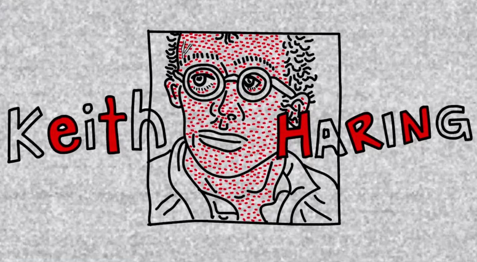 Keith Haring, portrait simplié dans un cadre entouré de son nom