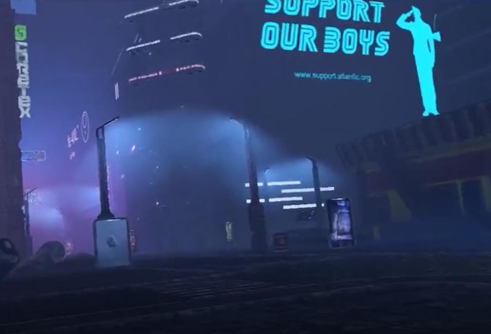 rue d'une ville futuriste de jeu vidéo